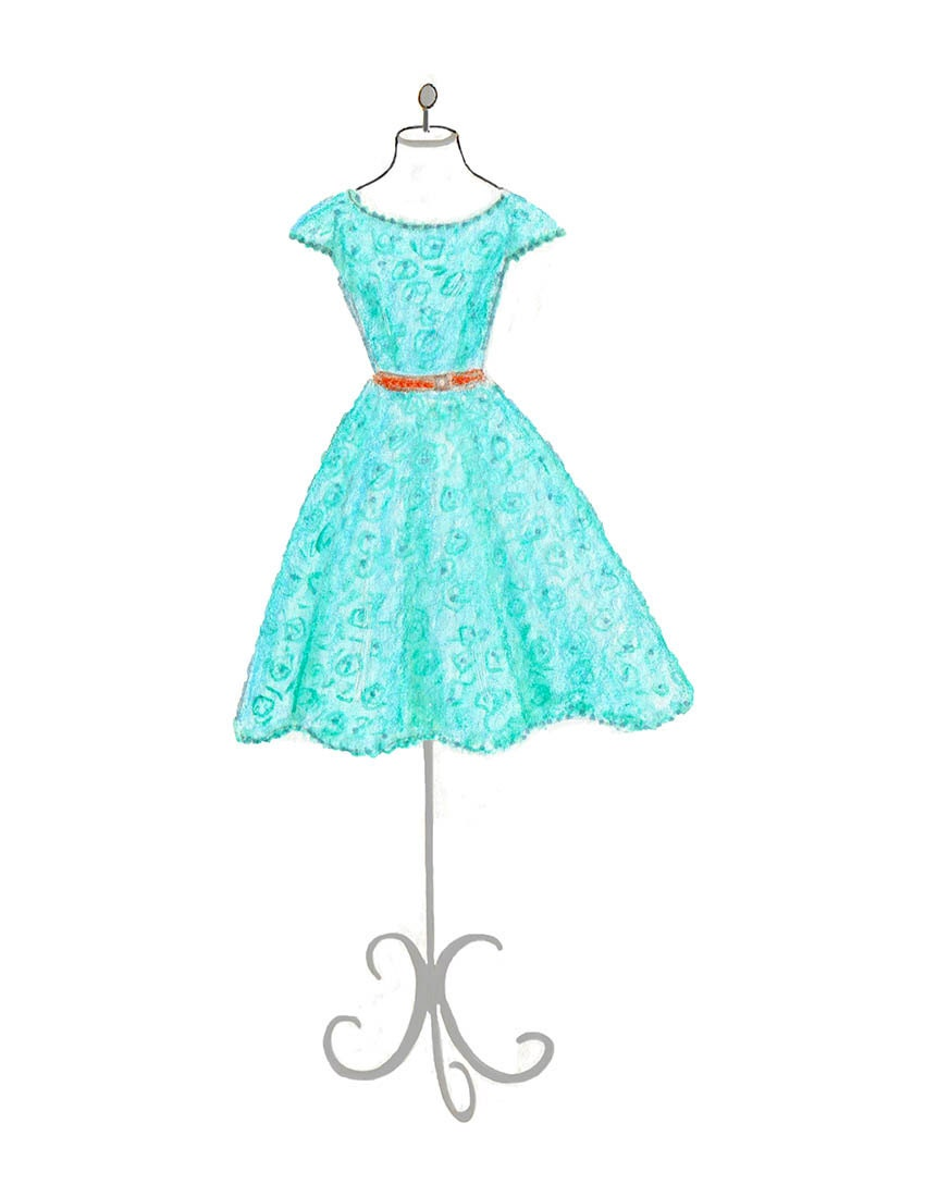 Hand Drawn Teal Dresses Fashion Illustration Teen Bedroom