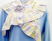 Pastel Plaid Ruffled Scarf, & Flower Brooch - Pin / Pastel Yellow, White, Blue, Pink Feminine Summer Fashion / OOAK Gift Under 50 For Her