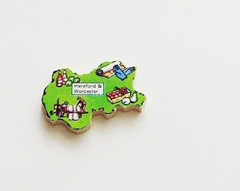 1960s Hereford & Worcester England Brooch - Pin / Unique Wearable History Gift Idea / Upcycled Vintage Wood Jewelry / Gift Under 25