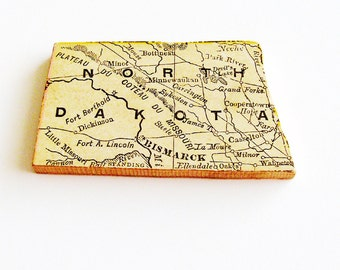 North Dakota Brooch Pin / Unique Wearable History Gift Idea / Upcycled Antique 1907 Rand McNally Wood Piece / Timeless Gift Under 50
