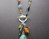 Long MultiStone Statement Necklace, Long Boho Necklace. Long Gemstone Necklace, Multistone Necklace