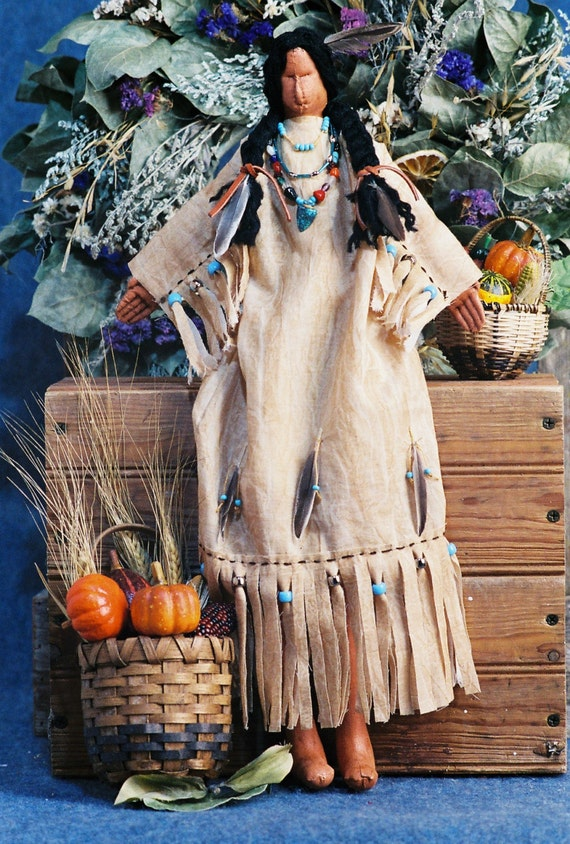 Mailed Cloth Doll Pattern - 20in Thanksgiving Indian Maiden