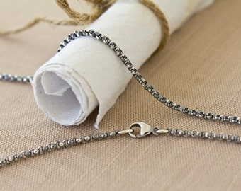 Silver Rolo Chain Necklace Oxidized Argentium Sterling 2mm thick w/ Lobster Clasp Antiqued 12 14 16 18 20 22 24 26 28 30 32 34 36 38 40 inch