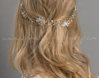 Rhinestone Hair Vine, Bridal Headband, Pearl Leaf and Crystal Headband, Boho Headband - Amelia