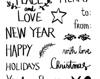 christmas stamps clear warmest wishes words happy new year merry and bright peace and love with love