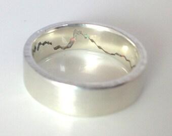 Hidden Gemstone Mountain Ring, 7mm band, Handmade Band w Opal Gemstone Inlay, Silver, Palladium, Gold or Platinum Wedding Band, Mens Band
