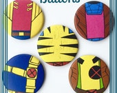X-Men 90s BUTTONS Mixed set Jubilee-Rogue-Gambit-Cyclops-Wolverine Marvel comic book