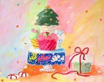 Original Painting * CHRISTMAS CUPCAKE TREATS * Art by Rodriguez * Holiday Art * Christmas Decor