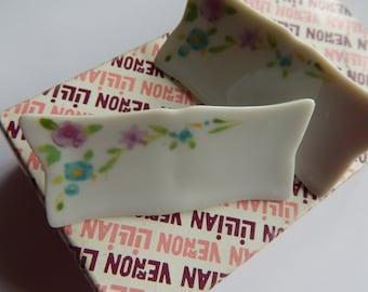 Lillian Vernon -Floral Porcelain Name Cards - Original Box - Set of 6 - Placecard Markers - Fine Dining