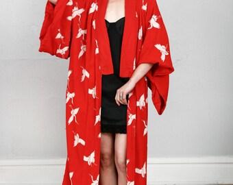 SALE- Vintage Kimono in Red & White Crane Print