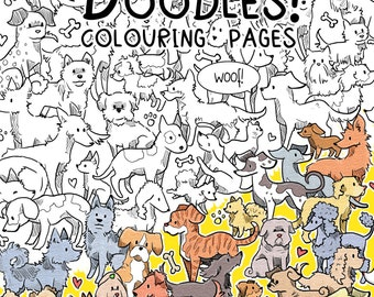 a4 paperback dog doodles colouring pages book 2016
