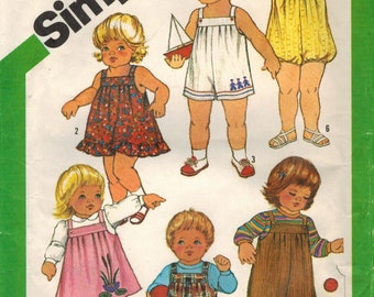 1980s Simplicity 5333 Vintage Sewing Pattern Toddler Boy, Toddler Girl Overalls, Sundress, Jumper, Bubble Suit, Romper Size 1