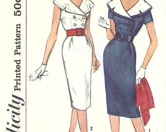 1950s Simplicity 3061 Vintage Sewing Pattern Misses Double Breasted Sheath, Dress, Detachable Collar Size 18 Bust 38