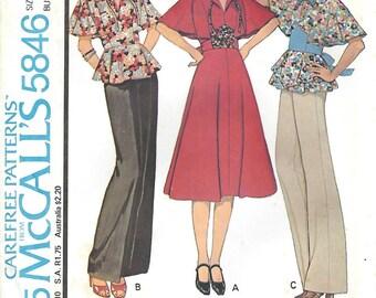 1970s McCall's 5846 UNCUT Vintage Sewing Pattern Junior Peplum Top, Midriff Dress Size 9 Bust 32