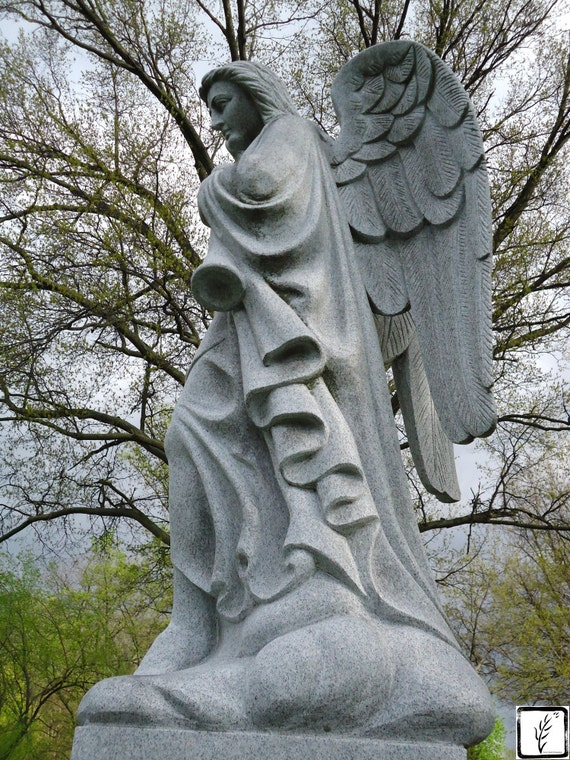 Color Photograph, fine art, photo print, wall art, home decor, angel, wings, cemetery, graveyard, Gabriel, Indianapolis, Indiana, haiku