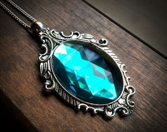 Gothic Necklace with Light Aqua Cabochon // Gothic Jewelry // Victorian Necklace // Halloween