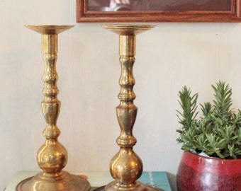 vintage brass candle holders - large candle stick - set of 2