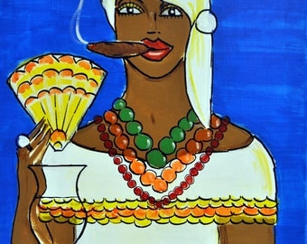 "Santera/Priestess/Healer- Original Mixed Media Latin Pop Painting, 12"" x 16"""