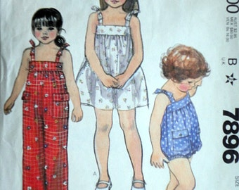 Vintage 80's McCall's 7896 Sewing Pattern, Quick & Easy Toddlers' Dress, Jumpsuit and Romper, Size 2