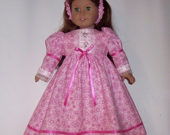 AMERICAN GIRL CLOTHES - Pink Floral Old Fashion Long Dess with headband