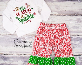 Baby Girl Christmas Outfit, Toddler Girl Clothes, Top and Ruffle Pants Set Tis the Season to Sparkle red green gold glitter