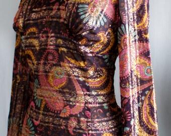 Psychedelic metallic vintage 'Egon Shop' boutique 1960s tunic blouse