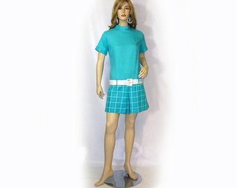 Vintage 60s Romper Mod Turquoise White Hip Hugger Skort Mock Turtle Neck M NWT