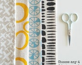 Handprinted fabric bundle - choose any 4 designs in any colour