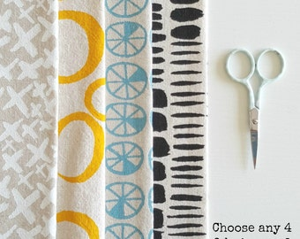 Handprinted fabric bundle - choose any 4 designs in any colour - natural backgrounds