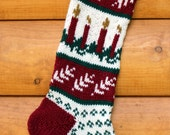 Hand Knit Christmas Stocking Candle - handmade - Ready to ship!
