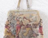 1960s Vintage Huge Tapestry Purse Hand Bag by J.R. Florida Julius Resnick