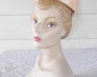 1960s Vintage Peach Taffeta Mini Pillbox Hat with Double Veil
