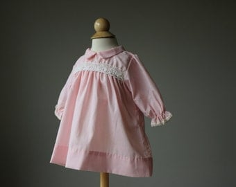 1960s Simple Pink Day Dress~Size 3 Months