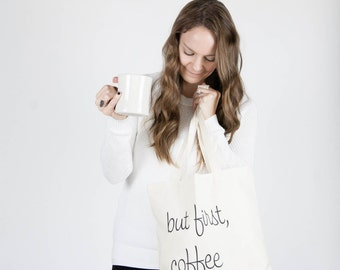 Ready to ship! / Screenprinted Canvas Tote Bag / But First, Coffee And Crochet