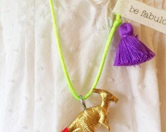 Rainbow Dinosaur Necklace Tassel Jewelry Dino Necklace Girls Necklace Plastic Animal Necklace Neon Jewelry Boho necklace for kids