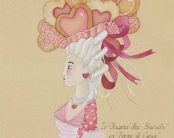 Valentine's Day Heart Shaped Cookies Art Gift for Baker Bakery Art Love Sweet Marie Antoinette 8x10 Watercolor Painting