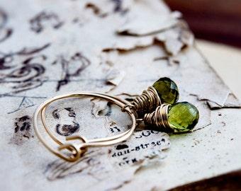 Hoop Earrings, Peridot Earrings, Gold Earrings, August Birthstone, Gold Hoops, Gemstone Earrings, Wire Wrapped, Olive Gemstones, Green