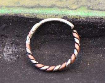 Sterling Silver and copper twisted wire nose ring hoop with DIY custom sizing instructions