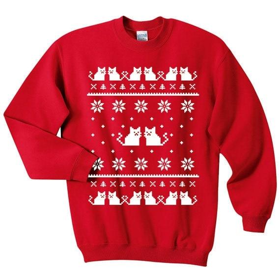 Ugly Christmas Sweater Cat Sweatshirt Unisex Sizes S M