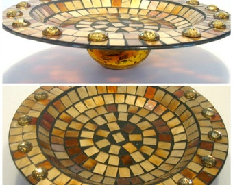 Amber Glass Mosaic Pedestal Tray, Elevated Amber Glass Mosaic Plate, Amber Mosaic Centerpiece. Amber Gold Mosaic Glass Pedestal Centerpiece