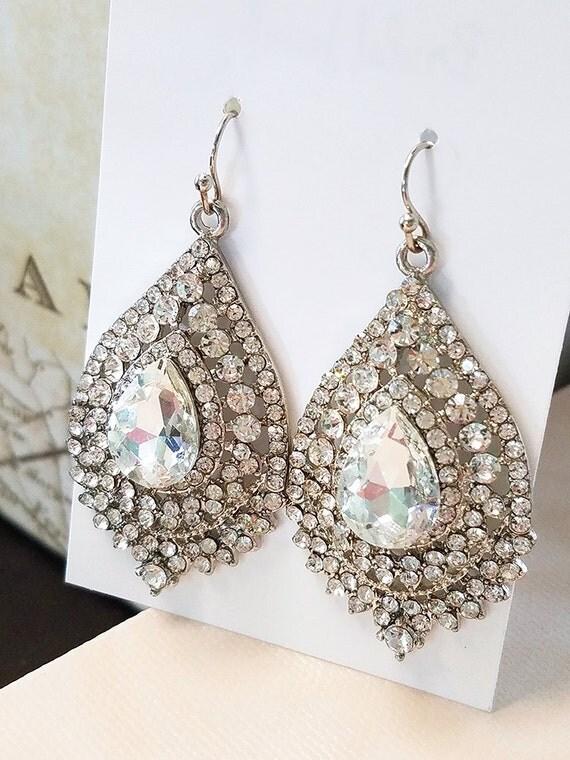 earrings silver statement earrings wedding jewelry