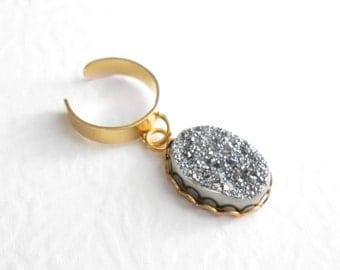 Silver Druzy Ear Cuff: Boho Gold Cuff Earring, Titanium Crystal
