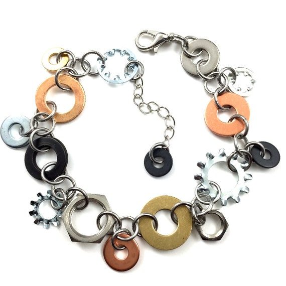 Charm Bracelet  Chain Mixed Metal Hardware Jewelry Eco Friendly Industrial