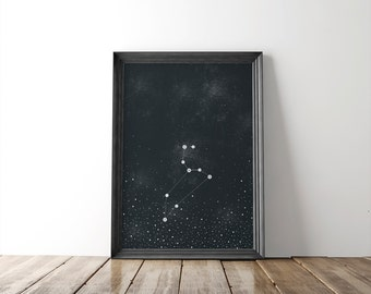 "Leo Zodiac Constellation Fine Art Print // zodiac print // 8x10 print // wall art // wall decor // astronomy // home decor // ""gifts"""