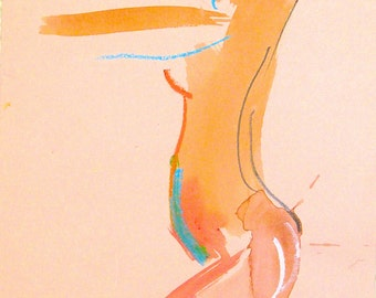 Nude painting- One minute pose LXXXII.6 -Original nude painting by Gretchen Kelly