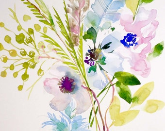 Flowers and Feathers 1 original watercolor painting by Gretchen Kelly