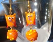orange lampwork owl earrings with matching bead