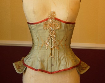 Embroidered Underbust Corset w Pearl Sequin Applique Peplum Ruffle Bustle Silk