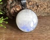 Oxidized pendant- Rainbow Moonstone pendant  - Bezel pendant - Round pendant - Gemstone pendant - Gift for her