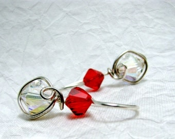 Clear Crystal AB Red Siam Swarovski Crystal  Earrings Sterling Silver One Piece Wire Wrapped Dangles E517J